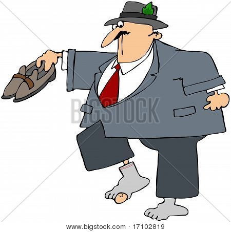Businessman With Holey Sock