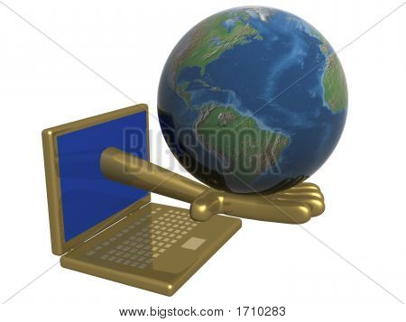 The World In A Computer. 3D Image.