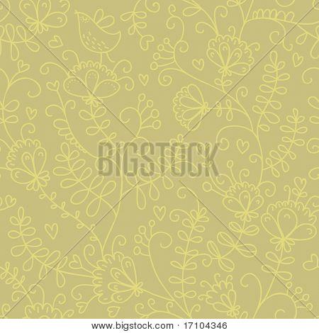 Padrão sem emenda floral de desenhos animados em amarelo quente