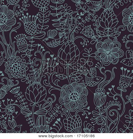 Floral seamless pattern with cartoon birds in retro style