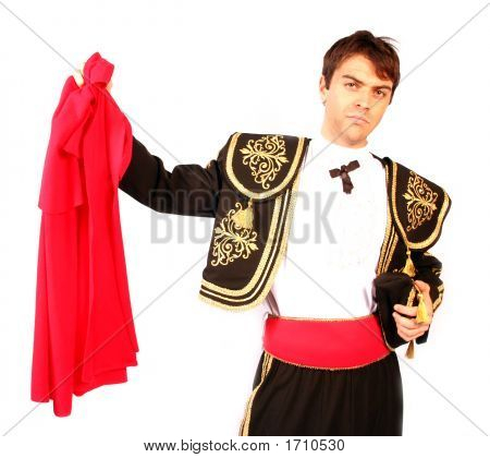 Matador With His Red Cape And Brave Ready For The Bull And Hero Of The Bull Pen