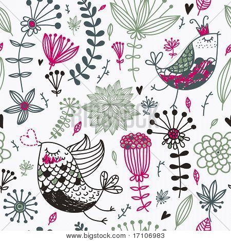 Retro seamless pattern with cartoon birds for vintage wallpapers