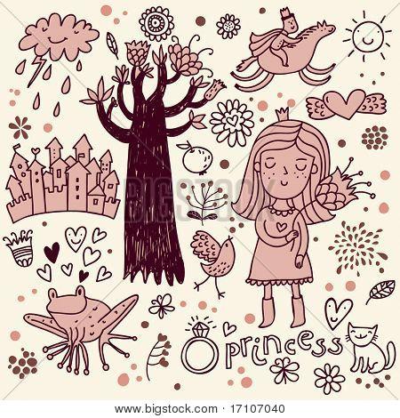 Cute princess doodle set