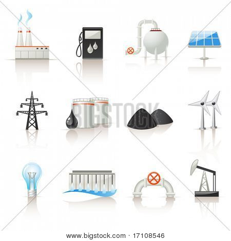 Energie-Industrie-Icon-set