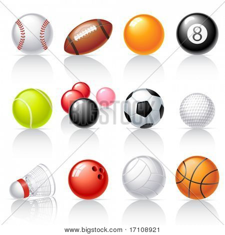 Постер, плакат: Спорт оборудование значки, холст на подрамнике