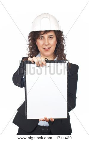 Female Architect Showing A Notebook