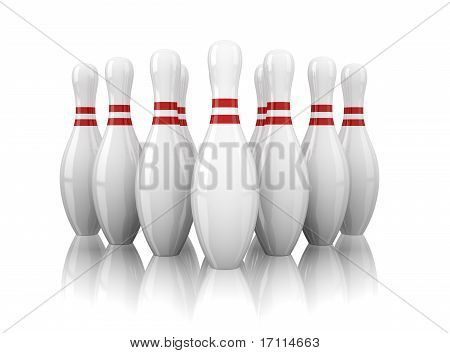 ten bowling pins isolated on white background