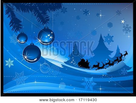 Ilustración de vector de fondo de Navidad azul