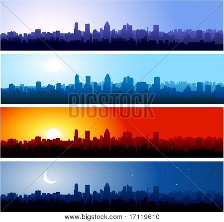 City silhouette at different time of the day