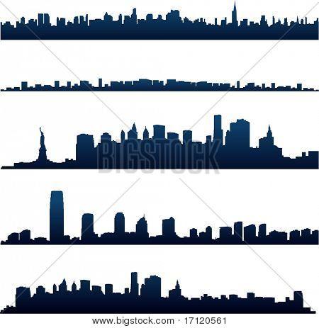 Постер, плакат: Силуэты города Нью Йорка, холст на подрамнике