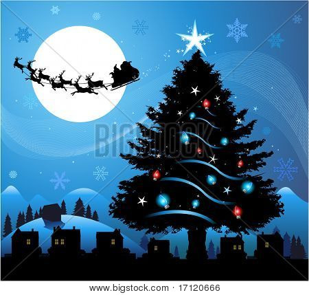 Blue Christmas background with santa claus flying in the sky