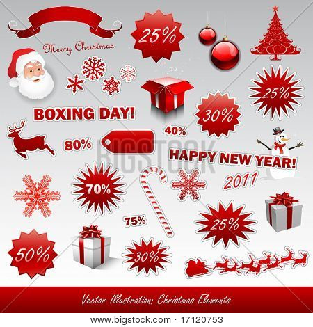 Christmas boxing day icons collection