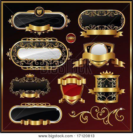 Vector vintage gold frame packing