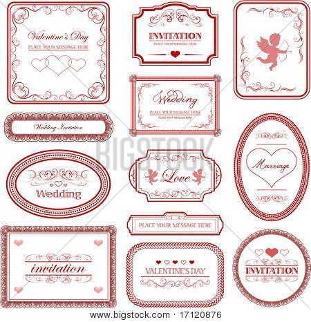 Vector set: vintage valentines day and wedding labels