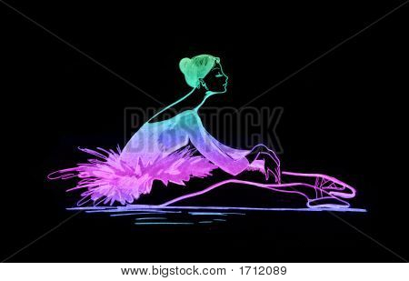 Colored Ballet Dancer Silhouette