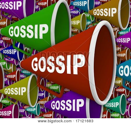 Many Bullhorns with the word Gossip on it