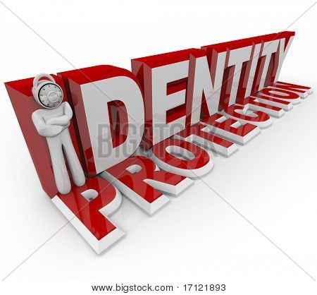 A man with a combination lock for a head stands in for the letter I in the words Identity Protection, symbolizing the protection of a security guard in prevneting crime