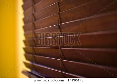 Horizontal Wooden Blinds On A Window