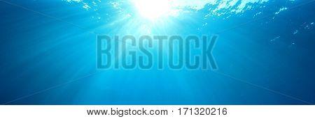 Underwater blue ocean background photo
