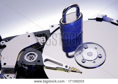 Padlock on computer hard-drive disc