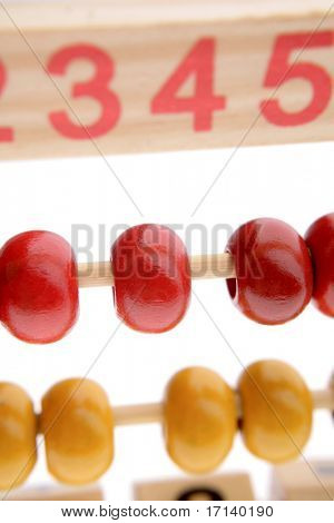 Close-up of abacus beads and numbers
