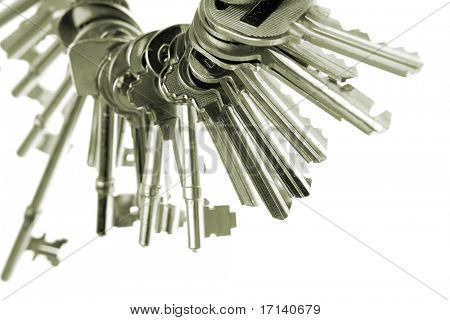 Keys on keyring over white