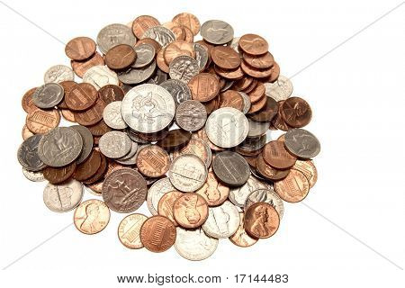 American coins isolated over white background