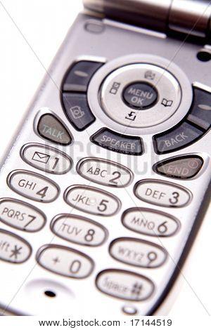 Keypad on mobile phone closeup