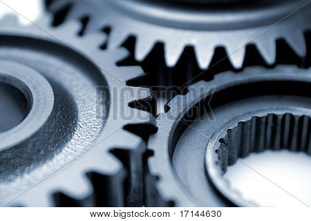 Closeup of three gears