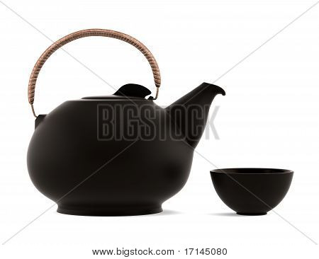 ceramic japanese teapot and cup isolated on white background