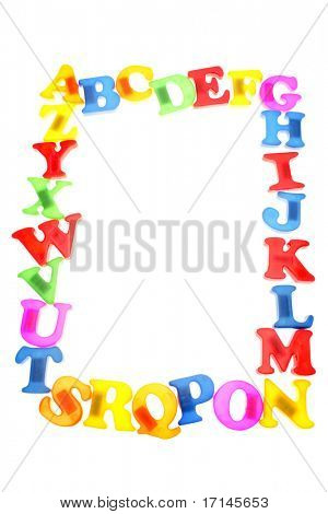 Alphabet letters frame over white