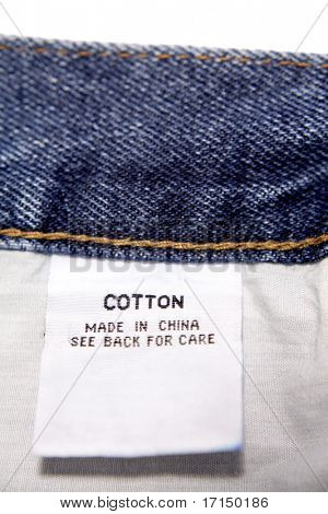 Cotton label on jeans