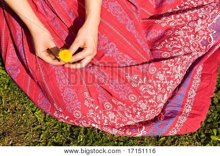 Skirt Of A Girl In The Grass