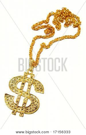 Dollar symbol necklace isolated on white background