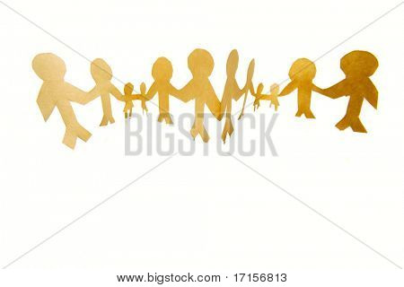 Cadena de papel personas cogidos de la mano