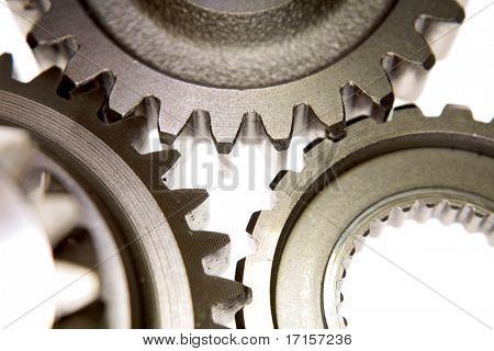 Closeup of three gears