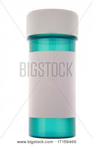 Blank label on plastic pill container