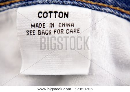 Cotton label on jeans