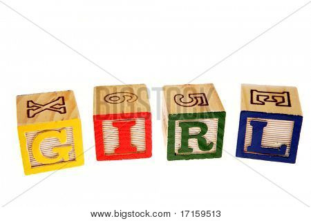 Alphabet learning blocks spelling girl