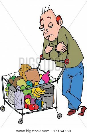 Cartoon Of Man Pushing A Shopping Trolley