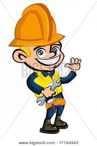 Dibujos animados de dibujos animados de un casco de trabajador conuna