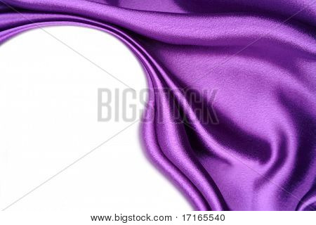 Silk fabric on white background. Copy space