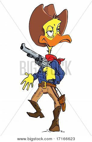 Cartoon Duck Cowboy With A Gun Belt And Cowboy Hat