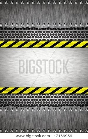 Screws in brushed steel background. Yellow and black construction border.Copy space