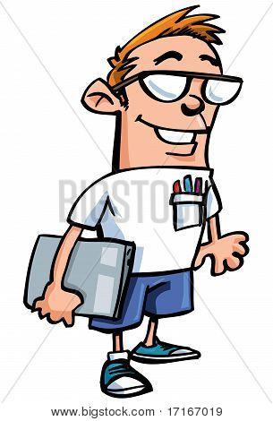 Cartoon Nerd With Glasses