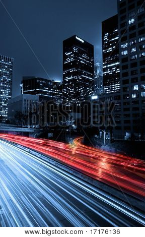 Urban City at Night With Traffic and Night Skyline, Los Angeles