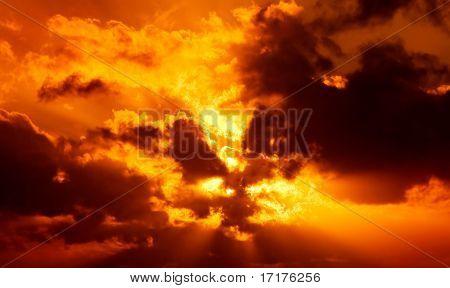 Dramatic Exploding Sunset