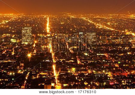 Urban City Suburbs at Night