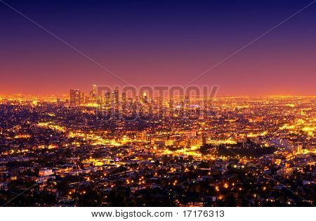 Los Angeles Downtown and Surrounding Area at Sunset