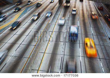 Freeway Traffic with motion blur